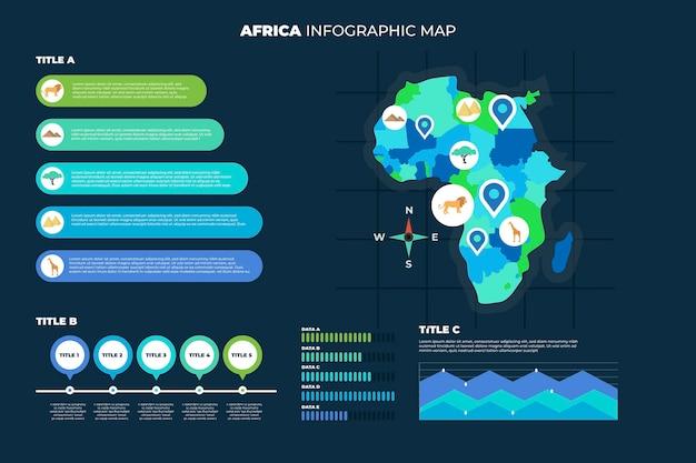 Инфографика карты африки в плоском дизайне Premium векторы