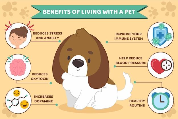 Инфографика льгот, живущих с домашним животным Бесплатные векторы