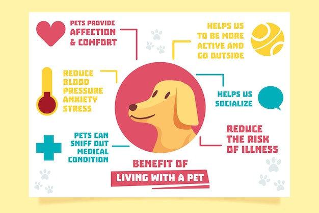 Инфографика жизни с домашним животным Бесплатные векторы