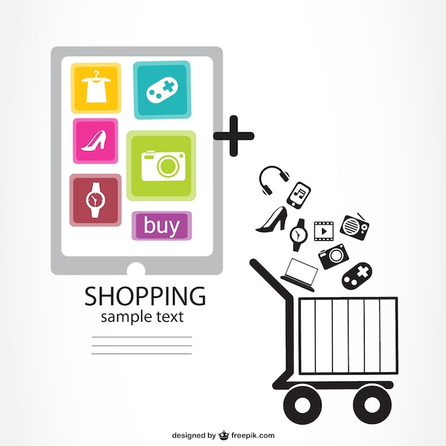 Infographic online shopping design vector free download for Design online shop