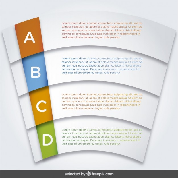 Infographic options template in curved form
