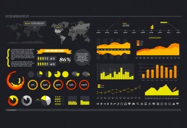 Infographic in orange Free Vector
