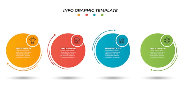 Infographic paper layout design template with thin line process. business concept with 4 options, steps. Premium Vector