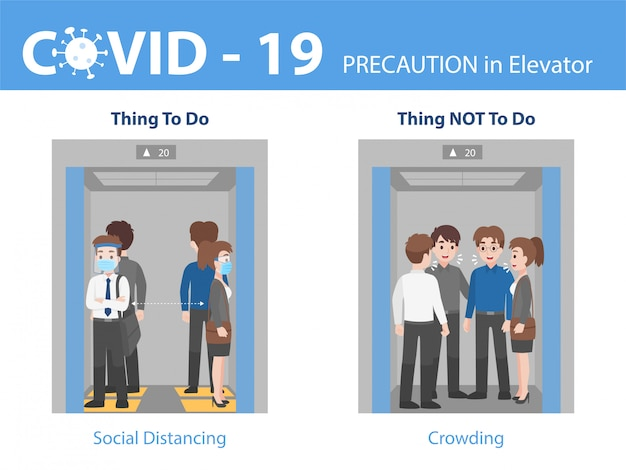 Infographic do and don't people social distancing with crowding in lift Premium Vector