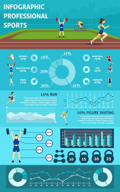 Infographic people sport Free Vector