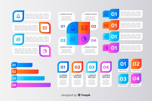 Infographic phases set of elements template Free Vector
