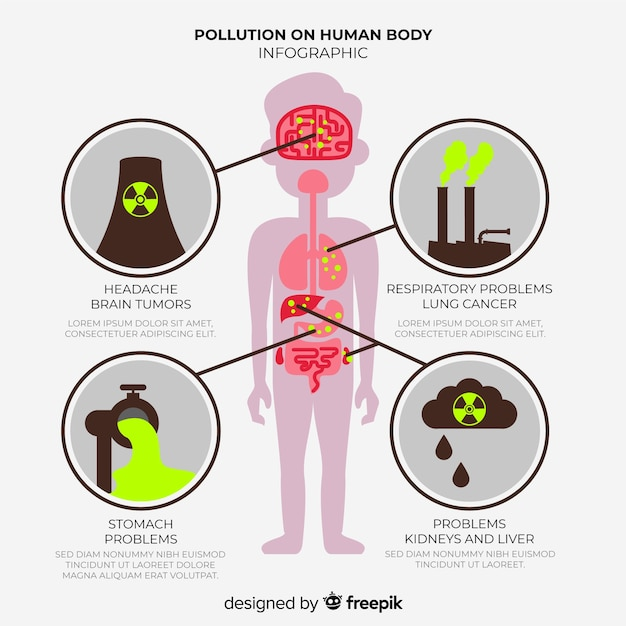 Infographic of pollution effects on human body Free Vector