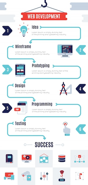 Infographic programm development Free Vector