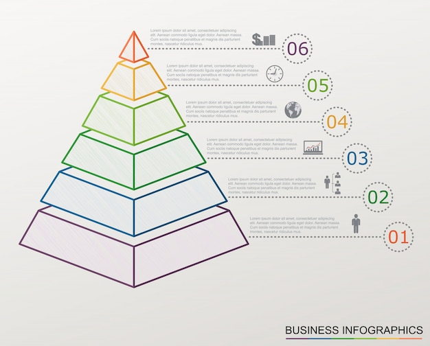 Infographic pyramid with numbers and business icons, line style, Premium Vector