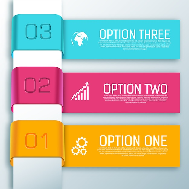Infographic ribbon horizontal shapes with text three options Free Vector