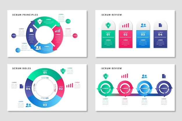 Шаблон инфографики скрам Бесплатные векторы