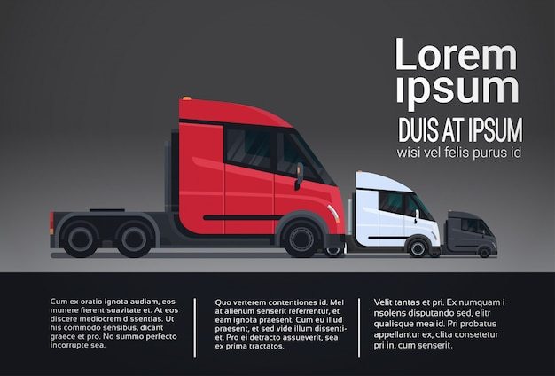 Infographic set of cargo truck trailer vehicle template elements semitrailer side view shipping Premium Vector