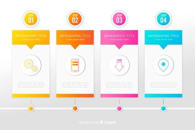 Infographic set of growth steps temlate Free Vector