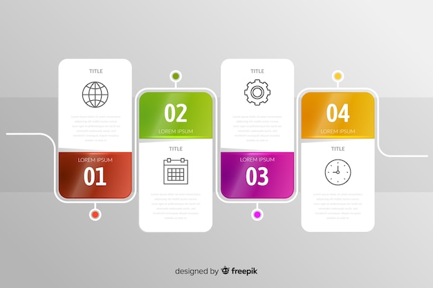 Infographic set of steps phases template Free Vector