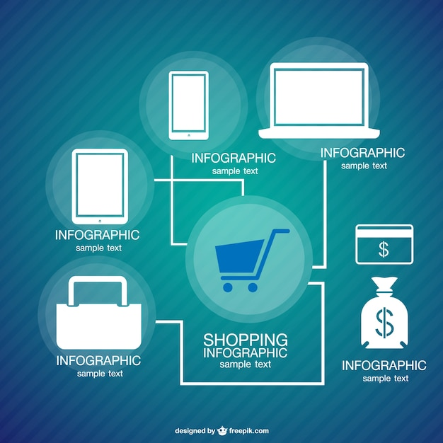 Infographic shopping concept Free Vector