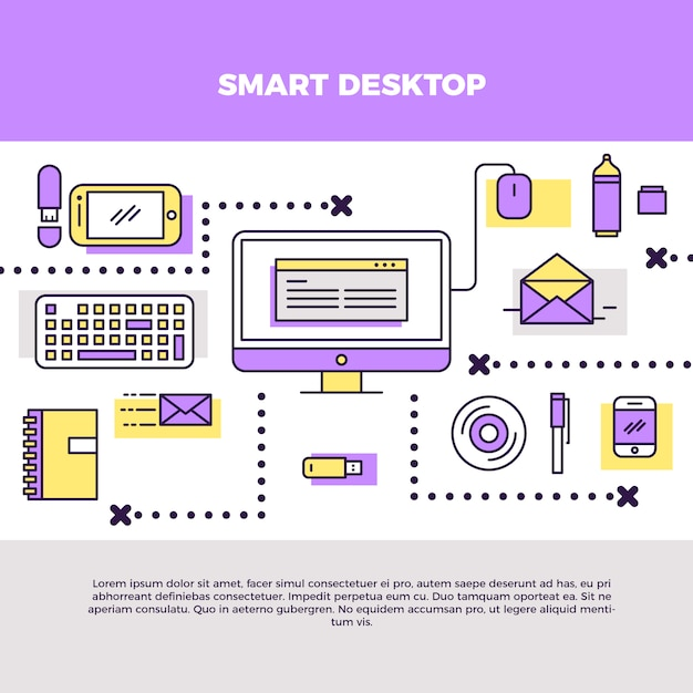 Infographic smart desktop illustration Free Vector