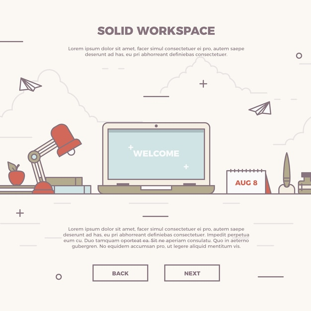 Infographic solid workspace illustration Free Vector