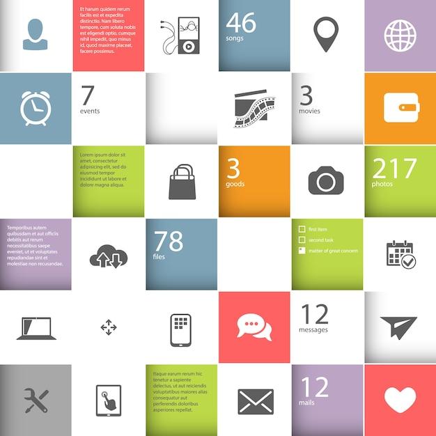 あなたのコンテンツのための場所とインフォグラフィックの正方形のテンプレート 無料ベクター