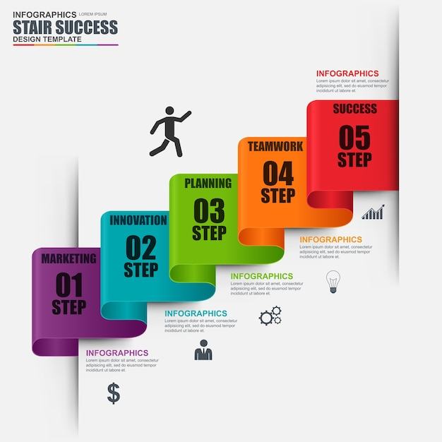 Infographic staircase step vector design template. Can be used for workflow, stair success Premium Vector