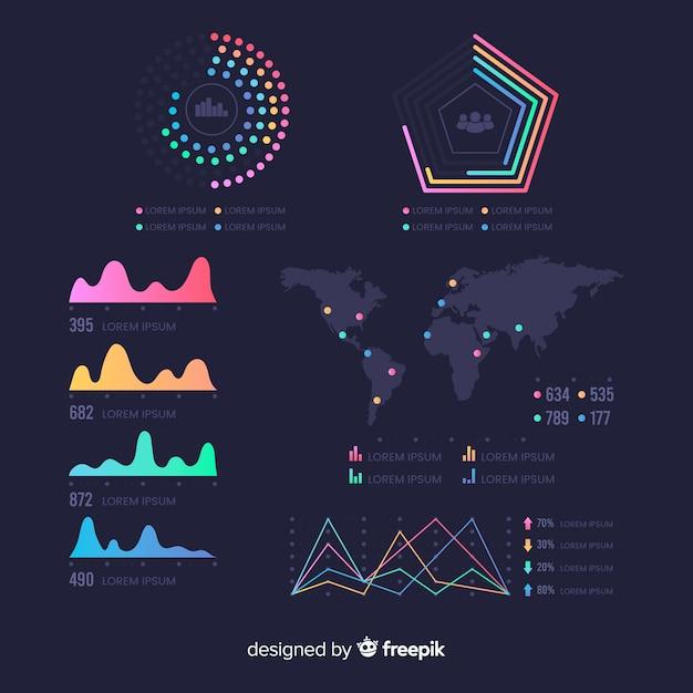 Шаблон панели инфографики статистики Бесплатные векторы
