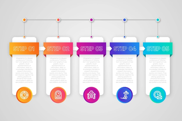 Infographic step collection concept Free Vector