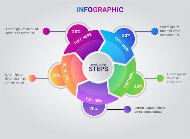 Infographic step full color gradient Premium Vector