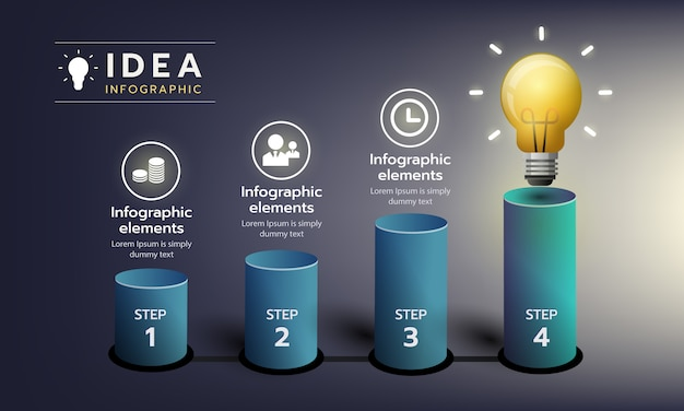 Infographic step to the idea grow with light bulb Premium Vector