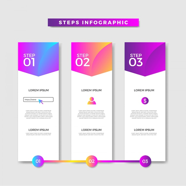 Infographic steps banner Premium Vector