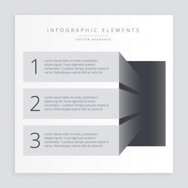 Infographic steps banners in color grey Free Vector