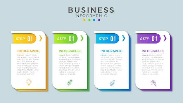 Infographic steps     business template Premium Vector