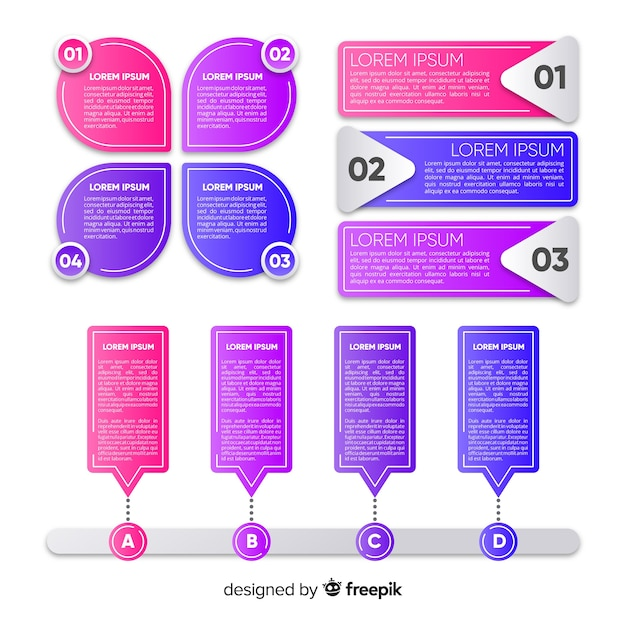 Infographic steps collection flat design Free Vector