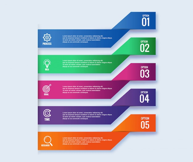 Infographic steps concept creative banner design Free Vector