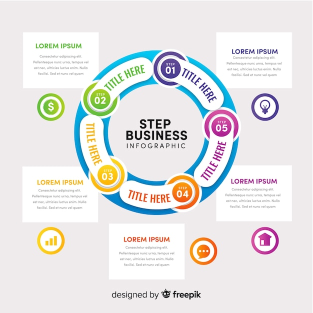 Infographic steps concept in flat style Free Vector