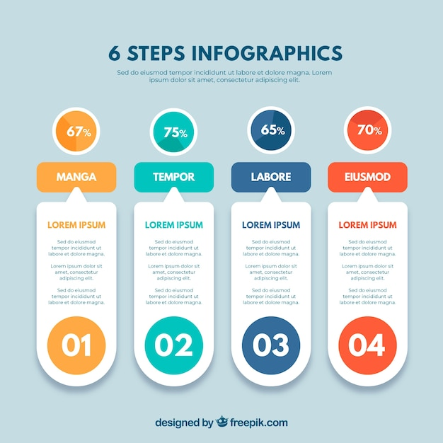 Infographic steps concept Free Vector