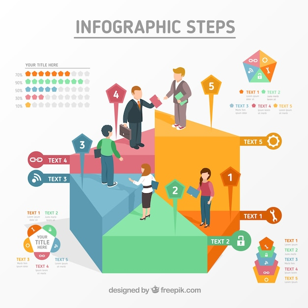 Infographic steps design with persons Free Vector