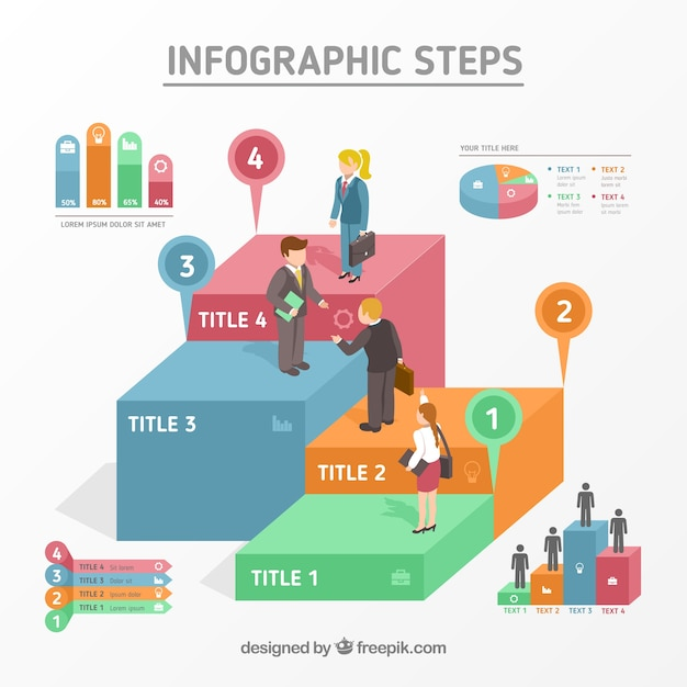 Infographic steps design Free Vector