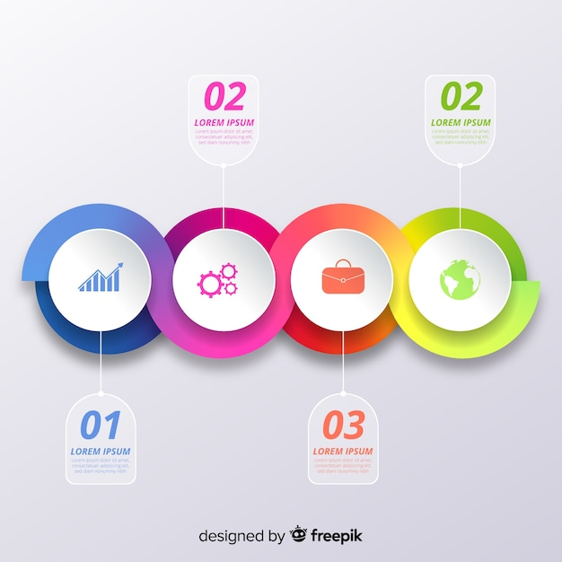 Infographic steps in gradient style Free Vector