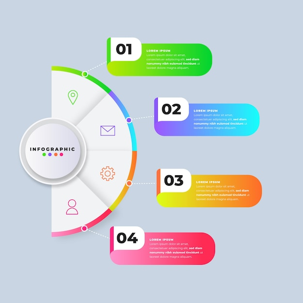Infographic steps gradient template Free Vector