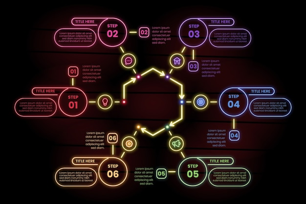 Infographic steps in neon style Free Vector