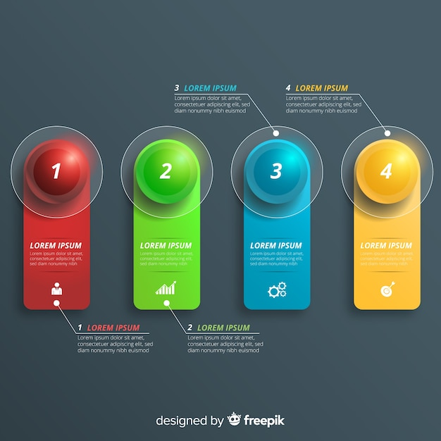 Infographic steps in realistic design Free Vector