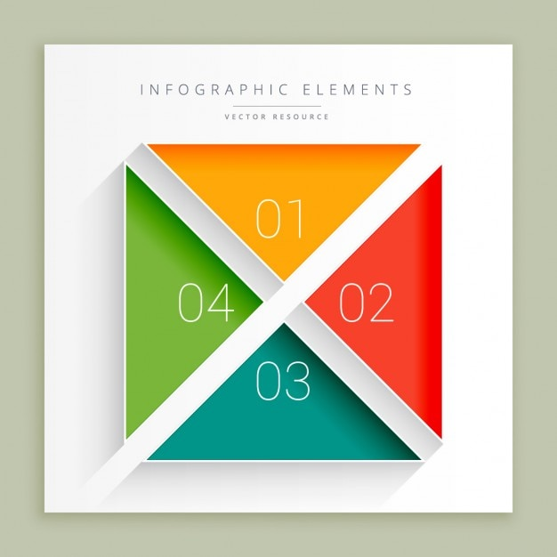 Infographic steps in square shape Free Vector