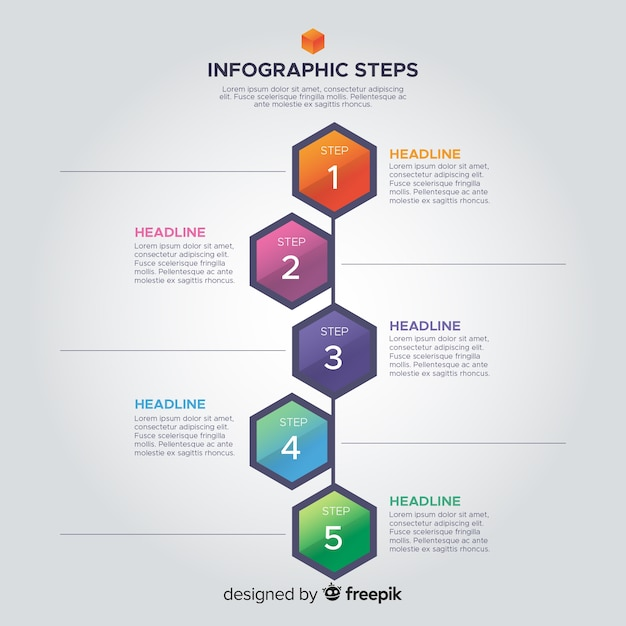 Infographic steps template flat design Free Vector