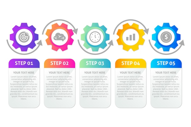 Infographic steps template in gradient Free Vector
