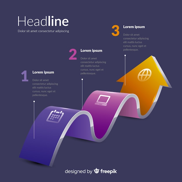 Infographic steps template isometric design Free Vector