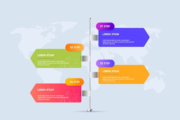 Infographic steps template Free Vector