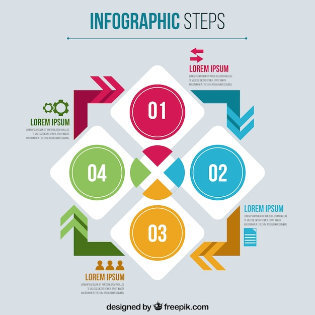 Infographic steps with arrows and shapes