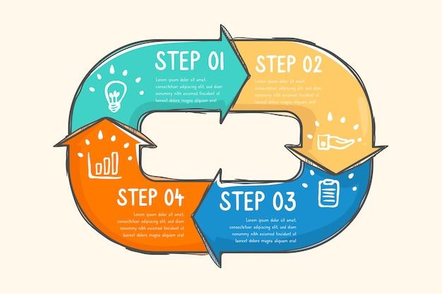 Инфографики шаги со стрелками Бесплатные векторы