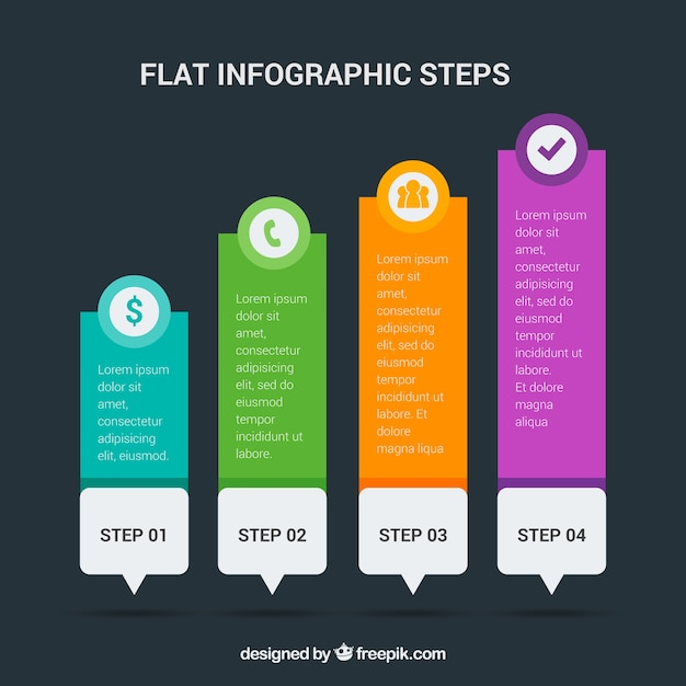 Infographic steps with colorful icons Free Vector