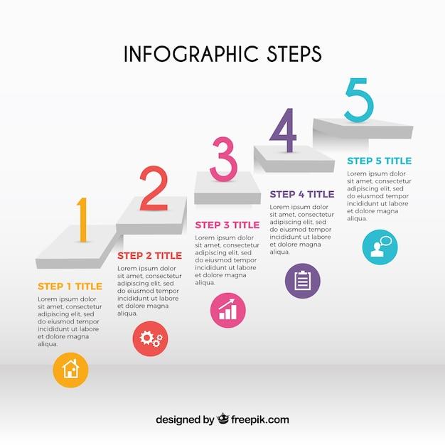 Infographic steps with colorful numbers Free Vector