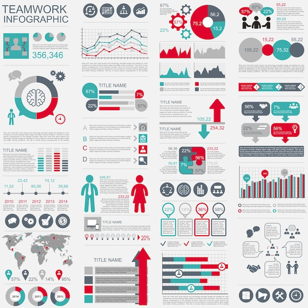 Infographic teamwork vector design template. Can be used for workflow, startup, business Premium Vector
